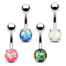 4 lot Glitter Opal Set Belly Button Ring Navel Bar Stud Barbell Piercing Jewelry
