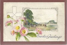 Vintage Easter Postcard Silk Printed Design Country Scene House Farm Cattle Nice
