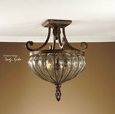 HAND BLOWN BRONZE WROUGHT IRON CEILING LIGHT CEILING FIXTURE RUSTIC & TUSCAN
