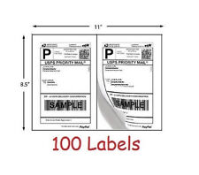 Shipping Labels 100 Self Adhesive Easy Peel Printer Paper Postage 8.5 x 5.5