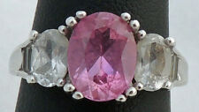 STUNNING ESTATE STERLING SILVER PINK & WHITE SAPPHIRE COCKTAIL RING SIZE 7.5