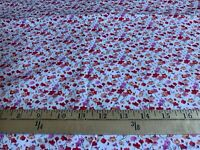 2Yds VTG OOP HTF Shamash Mini Floral on White Stretch Cotton Fabric