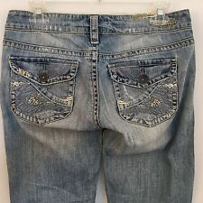 Silver Tuesday Flap Womens Blue Jeans Size 27/35 Distressed 27 Bootcut Denim