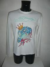 Herren ED HARDY BY CHRISTIAN AUDIGIER Langarmshirt Shirt Weiß Strass Motiv XL