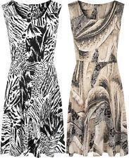 Polyester Plus Size Sleeveless Skater Dresses for Women
