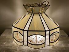 "Vintage 15.5"" Tiffany Style Slag Glass Hanging Light  Swag Lamp Wheat Retro 70s"