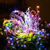 Outdoor 100 LED Solar Lichterketten Wasserdichte Kupferdraht Garden Party U4B3