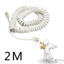 2M-Coiled Telephone Handset Cable RJ10 Phone Lead Extension Curly Spring Cord X1