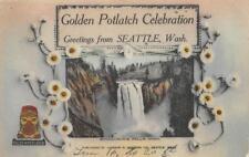 Golden Potlatch Celebration, Seattle, WA Snoqualmie Falls 1913 Vintage Postcard