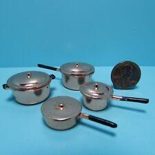 Dollhouse Miniature Complete Set of 4 Copper Cooking Pots & Pans with Lids D3653