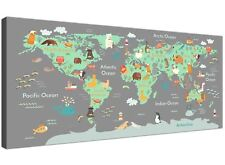 Animal Map of the World Atlas Canvas for Childrens Bedroom or Nursery 120cm Wide