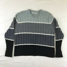 Carolyn Taylor Essentials Sweater Long Sleeve V Neck Size XL Gray and Black