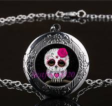 Sugar Skull Owl Cabochon Glass Gun Black Chain Locket Pendant Necklace