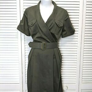 Adam Lippes Womens Olive Green Belted Short Sleeve military Shirt Dress size 10