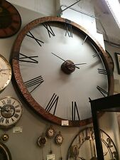 "NEW HUGE 60"" HAMMERED COPPER SHEETING GRAY WASH ROUND WALL CLOCK  ROMAN NUMBERS"