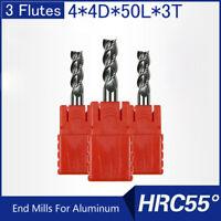 HRC55 3 Flutes 4MM Solid Carbide End Mills For Aluminum L 50MM