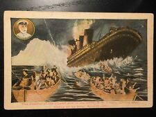 1913 Titanic Sinking Disaster Postcard - Hitting the Iceberg - Captain Smith
