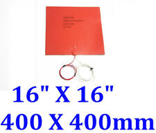 """16"""" X 16"""" 400 X 400mm w 3M Thermister 3D Printer Heated Bed Silicone Heating Pad"""