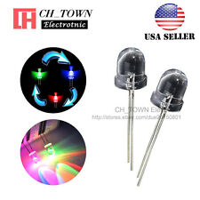 50pcs 8mm Rainbow Water Clear RGB Slow Flash Flashing Transparent LED Diodes USA