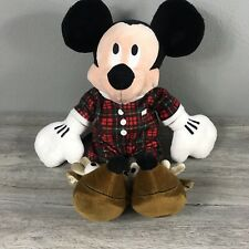 """New listing Disney Store Mickey Mouse Plush 16"""" Stuffed Toy Reindeer Slippers Red Plaid Pj's"""
