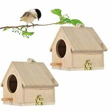 Wren Bird House Pack Of 2 Hanging Birdhouse For Outside Wooden Nests Box Garde