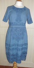 Blue Cotton Cut Work Embroidered Dress - 12 - NWT