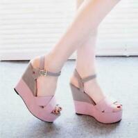 Women's sandals high heel wedges color-matching shoes platform Roman shoes Lady