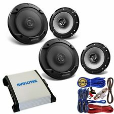 (4) Kenwood KFC-1666S 6.5� 300 Watts 2-Way Speakers + AT404 4CH 400W Amp + Kit