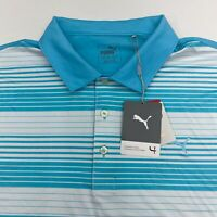 NWT Puma Polo Shirt Men's XL Short Sleeve Blue White Striped Polyester Blend