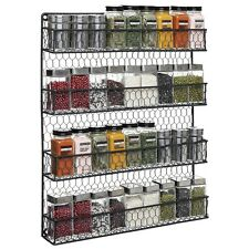 Spice Storage Rack 4 Shelf Wall Mount Cabinet Jars Organizer Kitchen Jar Holder