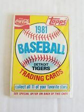 1981 TOPPS COCA COLA DETROIT TIGERS SEALED TEAM BASEBALL CARDS VINTAGE PACK MLB