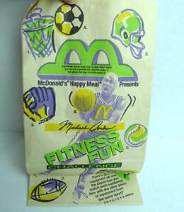 1991 McDonald's Michael Jordan Happy Meal Fitness Fun Challenge Brown Bag