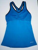 Asics Women's Athletic Workout Tank Top w Built In Shelf Bra Blue Size XS