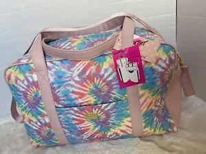 Luv BETSEY JOHNSON Weekender Duffel Overnighter Bag Tie Dye Rainbow Travel Bag