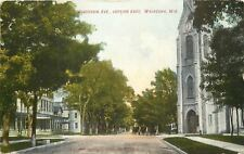 Waukesha~Wisconsin Avenue~Clock Tower~Big Homes~Horse Buggies 2 Abreast~1908