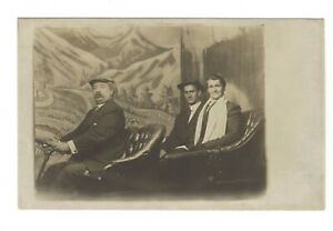 Real Photo Postcard c1904-1918 Couple in Back Seat Car with Driver Studio RPPC