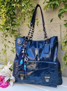 Coach Poppy Ink Blue Patent Leather Push Lock N/S Tote chain shoulder bag purse
