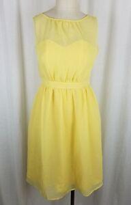 Tevolio Yellow Chiffon 50's Look Fit & Flare Swing Slip Dress Womens 2 Banded