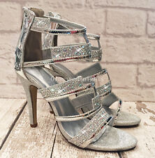 Ladies Womans Silver Diamante Peep Toe Strappy High Heel Sandal Shoe Party Club