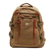 Troop London - Large Brown Canvas Classic Laptop Rucksack/Backpack with Leather