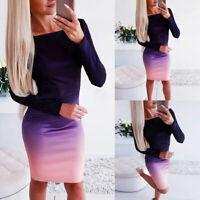 Fashion Women Long Sleeve Gradient Print Bodycon Clubwear Casual Short Dress Hot