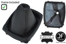 BLACK STITCH GENUINE LEATHER GEAR GAITER + PLASTIC FRAME FOR FORD C MAX 07-2010