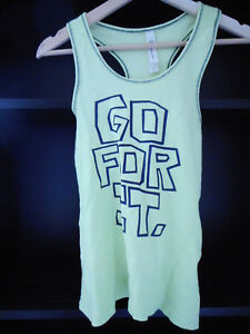 Lorna Jane Active S avacado green Ladies singlet Go for it cotton blend