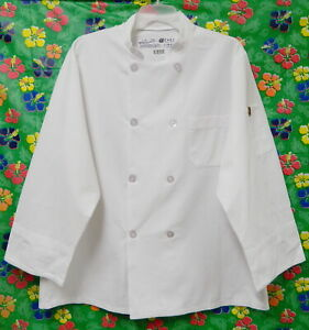 2 RED KAP EIGHT BUTTON WHITE CHEF COAT LARGE UNIFORM CULINARY COOK
