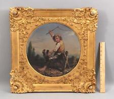 Antique Folk Art Genre Oil Painting, Young Boy Riding Saw Horse w/ Riding Crop