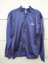 Reebok Boys Athletic Full Zip Warmup Jacket Sz XL 18 20 Navy Blue White Trim Top