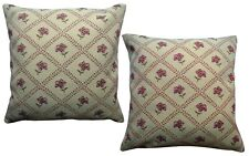 Pack of 2 Woven Floral Design Traditional Cushion Covers/ Beige/ Pink/ Green
