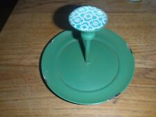 Green Dish Turquoise Flower Jewelry Holder Trinket Dish Distressed Painted Metal