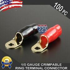 "0 Gauge Gold Ring Terminal 100pcs 1/0 AWG Wire Crimp  Red Black Boots 5/16"" STUD"