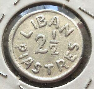 Lebanon 2 1/2 Piastres 1941 WW II, Km#13, لبنان